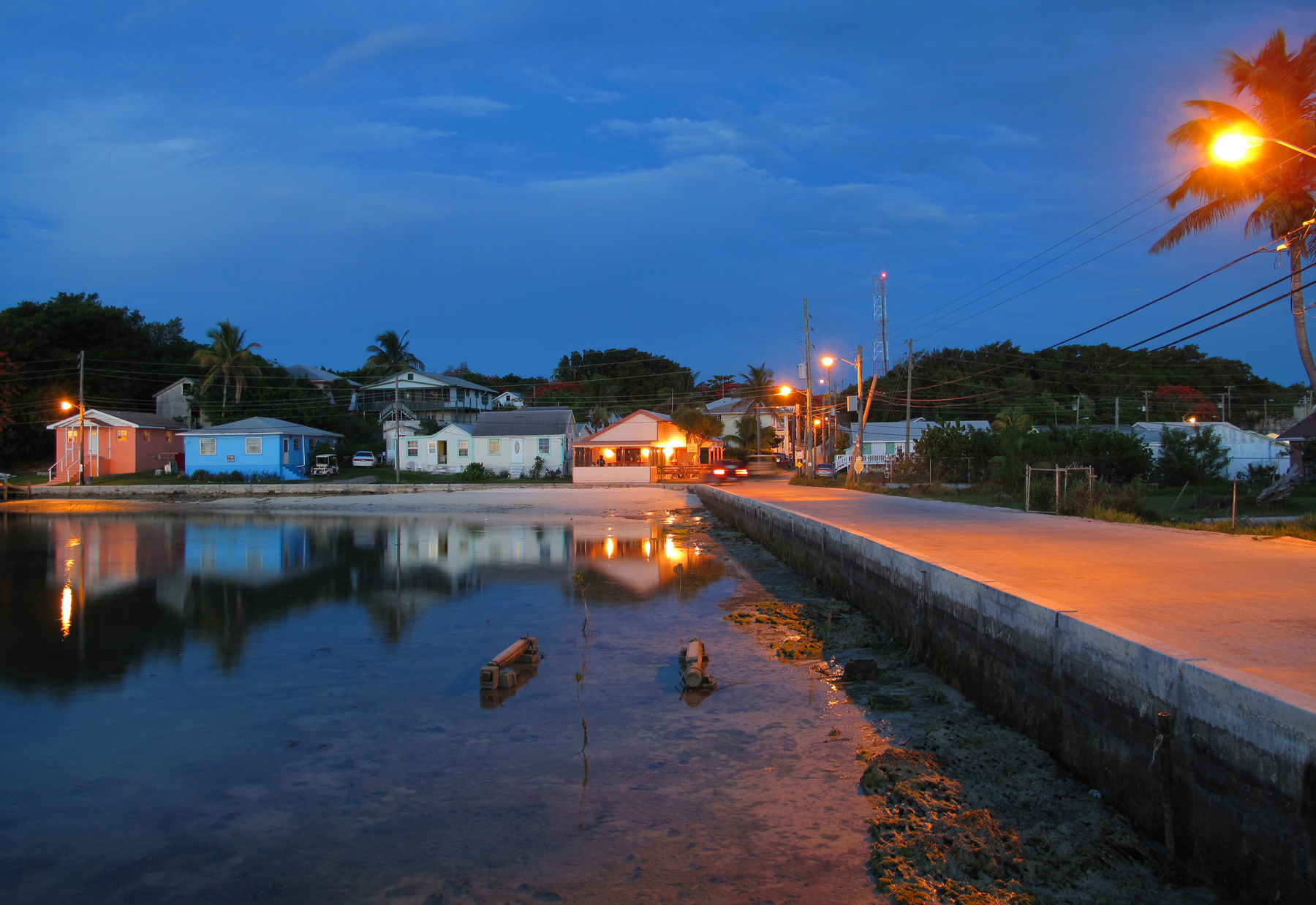 Twilight in town, Green Turtle Cay, Abaco, Bahamas.