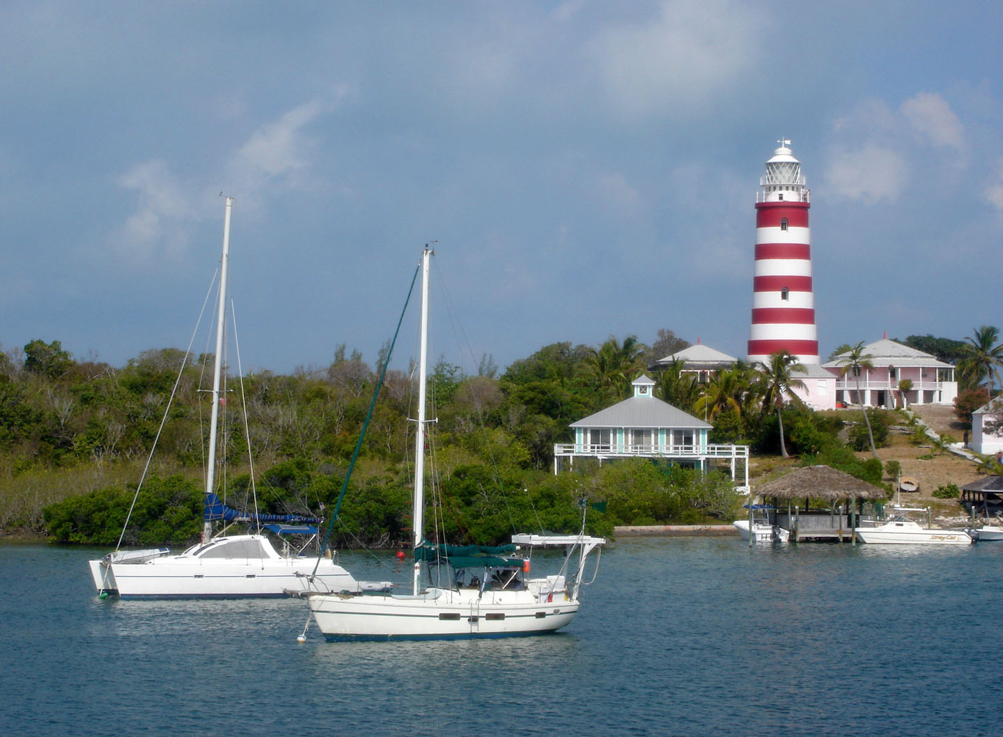 bahamas, abaco, hope town, elbow cay, boat, lighthouse