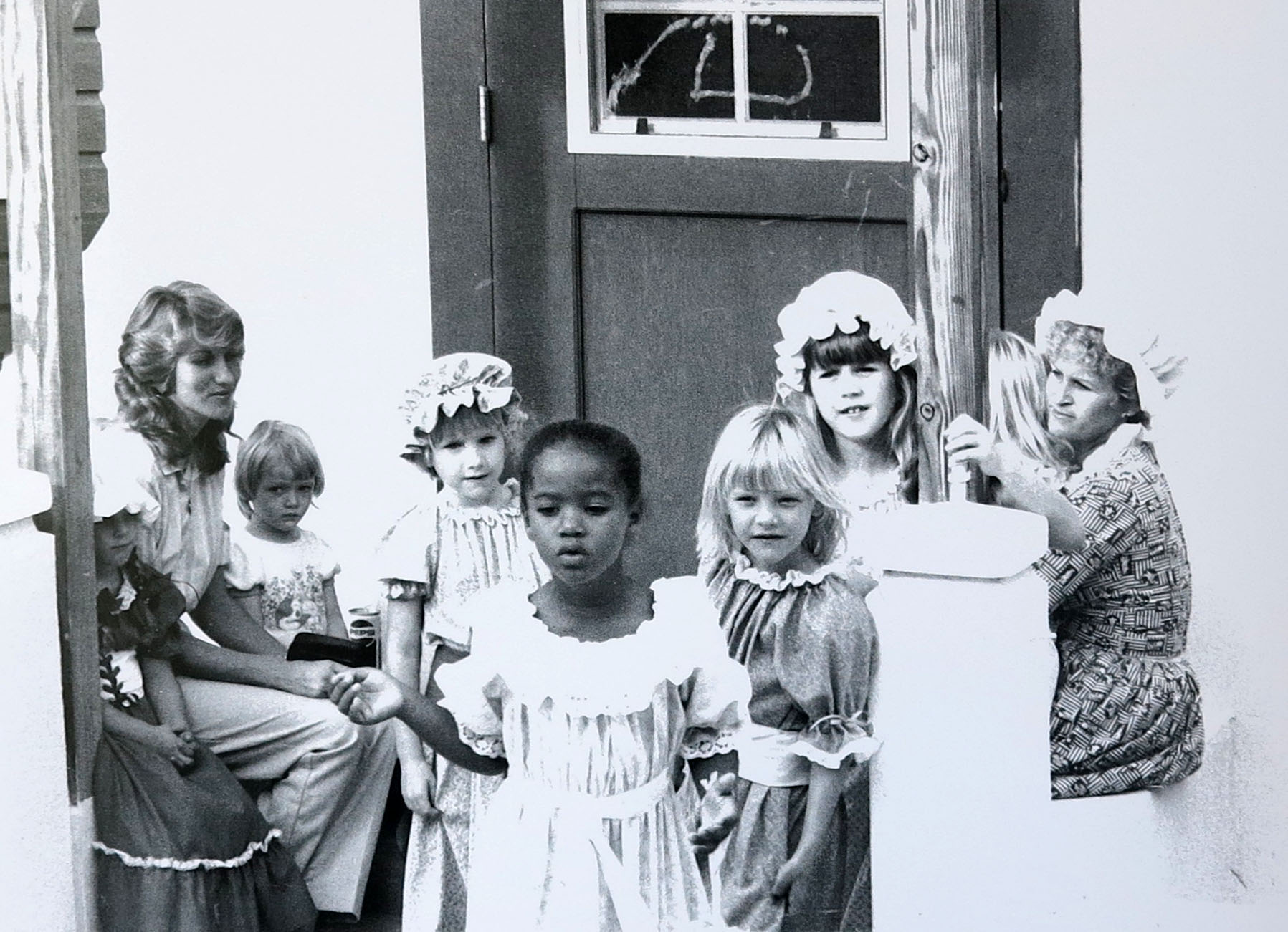 Girls in Loyalist Costumes at the first Island Roots Heritage Festival, Green Turtle Cay, Bahamas 1977