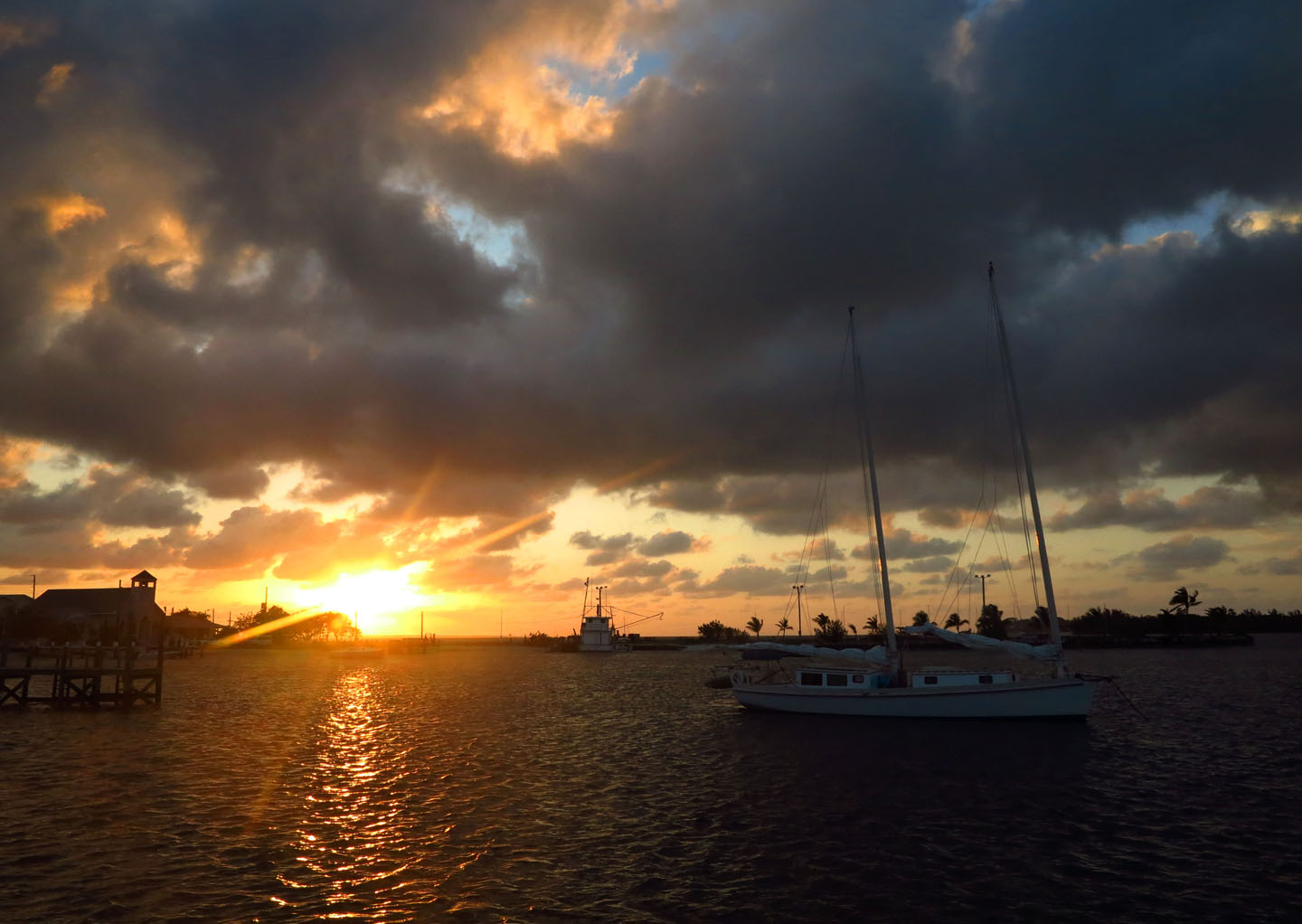 Sunset over Settlement Creek, Green Turtle Cay