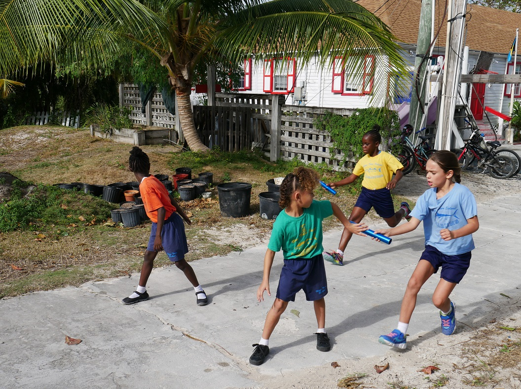 Relay race at the Hope Town school.