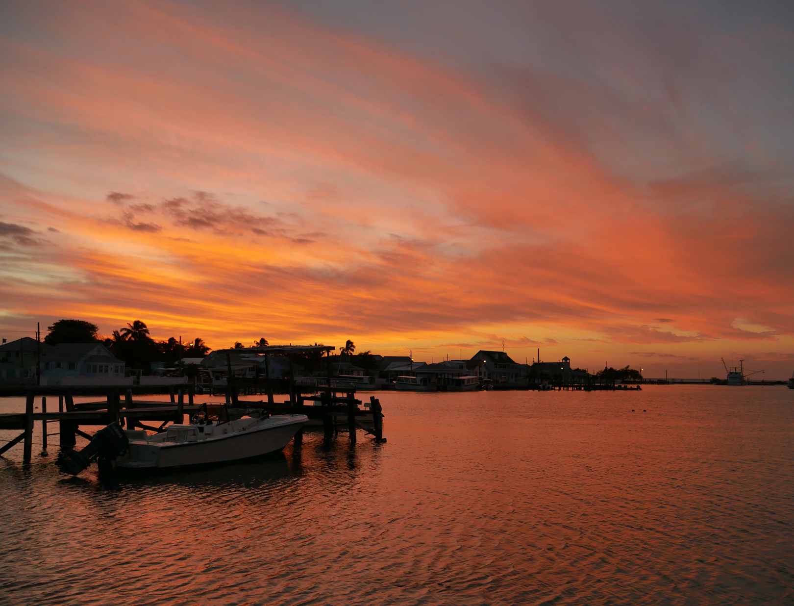 Settlement Creek at Sunset - Green Turtle Cay, Abaco, Bahamas.