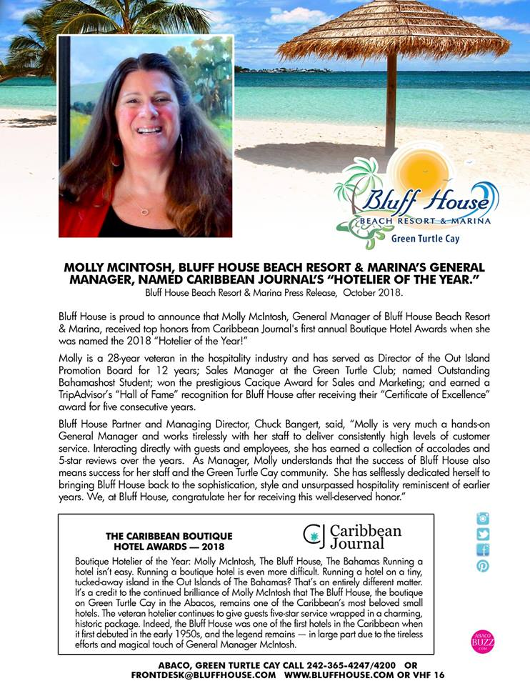 Green Turtle Cay's Molly McIntosh Named Hotelier of the Year