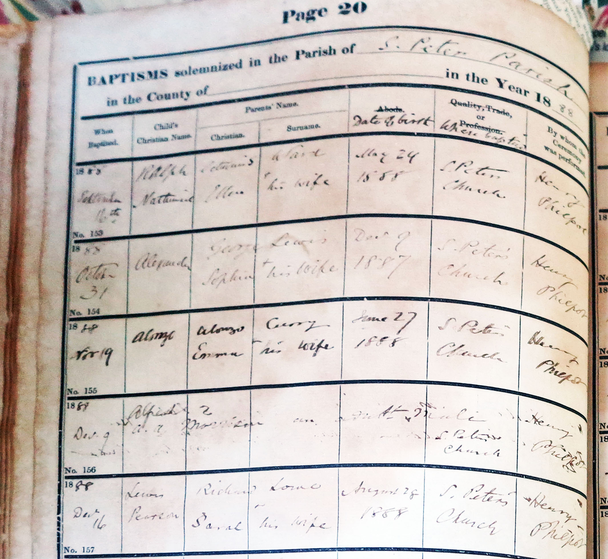 Baptism Record for Lewis Pearson Lowe - December 1888