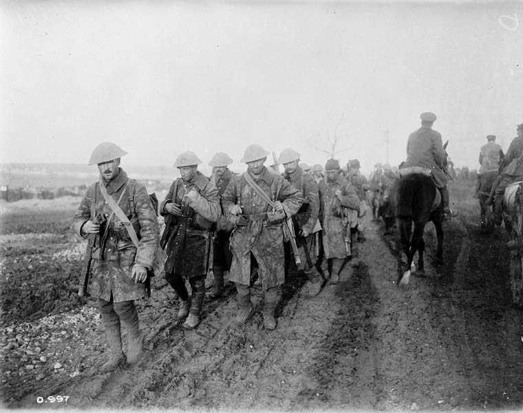 Canadian soldiers return from the trenches on the Somme - November 1916